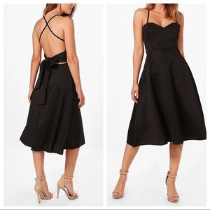 Boohoo Tie Back Scuba Midi Skater Dress